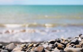 Картинка волны, пляж, макро, камни, берег, день, прибой