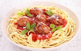 Обои мясо, спагетти, соус, котлеты, макароны, meat, pasta