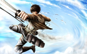 Картинка небо, оружие, прыжок, парень, Attack on Titan, Shingeki no Kyojin, Eren Jaeger