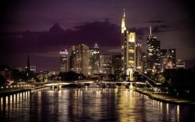 Обои ночь, мост, город, река, Frankfurt