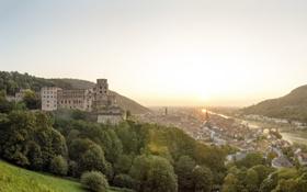 Картинка город, река, замок, рассвет, Heidelberg