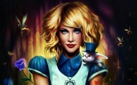 Обои цветок, улыбка, кролик, блондинка, алиса, шляпа