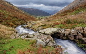 Картинка камни, река, трава, небо, ручей, склон, мостик