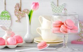 Обои праздник, тюльпан, печенье, Пасха, ваза, крем, сладкое