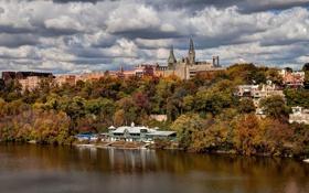 Обои осень, небо, деревья, природа, река, Вашингтон, США