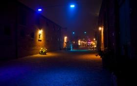 Картинка дорога, ночь, город, огни, улица, стены, фонари