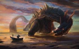 Картинка море, лодка, дракон, арт, рыцарь, удочка, улов