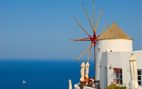 Обои море, небо, лодка, Греция, парус, ветряная мельница
