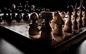 Обои темнота, шахматы, games, фигуры, тени, chess, игры