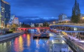 Обои ночь, город, фото, Германия, катера, Berlin, водный канал