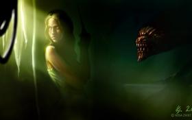 Картинка взгляд, девушка, лицо, оружие, монстр, существо, арт