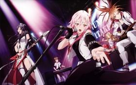 Картинка музыка, сцена, группа, микрофон, электрогитара, guilty crown, yuzuriha inori