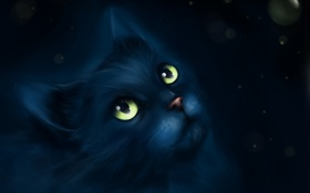 Обои взгляд, арт, живопись, рисовка, чёрный кот, rimary
