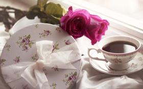 Картинка розы, бант, чашка, подарок, коробка, чай, блюдце