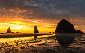 Картинка пляж, берег, океан, природа, скалы, расвет
