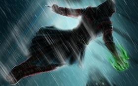 Картинка оружие, дождь, игра, арт, капюшон, Assassins Creed