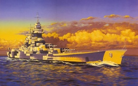 Обои море, волны, война, рисунок, корабль, арт, WW2