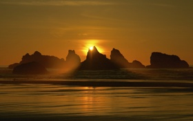 Картинка море, небо, солнце, лучи, закат, природа, скалы