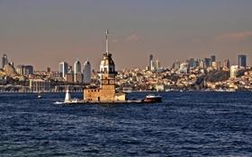 Обои пролив, Босфор, пейзаж, остров, Турция, Стамбул