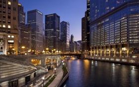 Картинка река, ночь, улица, огни, Chicago, дома, сша