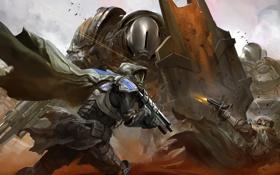 Картинка оружие, роботы, арт, солдаты, битва, плащ, выстрелы