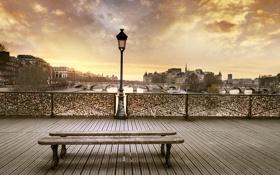 Обои закат, мост, город, Париж, вечер, лавочка, Сена
