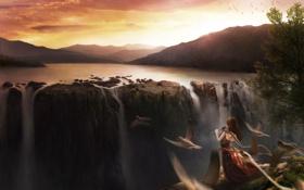 Обои небо, пейзаж, закат, птицы, фантастика, водопад, арт