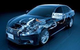 Обои двигатель, гибрид, передок, lexus, лексус, седан, врутреннее устройство