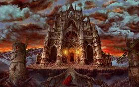 Обои красный, тучи, мост, замок, воин, арт, мельницы