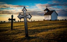 Обои поле, небо, облака, крест, вечер, церковь, могила