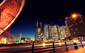 Картинка ночь, город, атракцион, Yokohama, Kanagawa, JAPAN