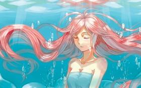 Обои девушка, пузырьки, арт, под водой, закрытые глаза