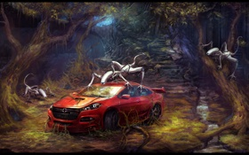 Обои лес, корни, роботы, развалины, Dodge, Автомобиль