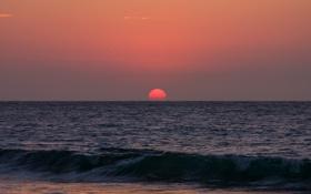 Картинка море, небо, солнце, закат, волна