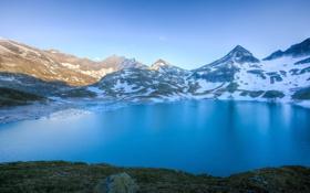 Картинка снег, горы, вершины, Австрия, берега, Вайсзее