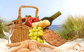Картинка песок, море, пляж, вино, корзина, бокал, бутылка