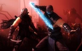 Обои битва, crossover, mortal kombat, ryu hayabusa, Sub-zero, ninja gaiden