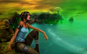 Обои Lara Croft, сидит, Tomb raider, девушка, море, волосы, арт