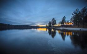 Картинка ночь, природа, огни, дома, Норвегия, залив