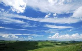 Обои небо, облака, поля, долина