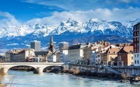 Обои облака, снег, пейзаж, горы, мост, река, Франция