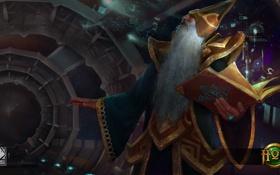 Обои маг, книга, борода, Heroes of Newerth, Vindicator, Space Wizard