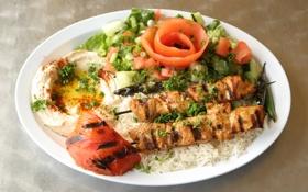 Обои зелень, рыба, рис, помидор, fish, rice, шпажки