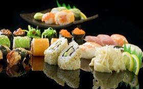 Картинка лимон, рыба, икра, суши, роллы, креветки, имбирь