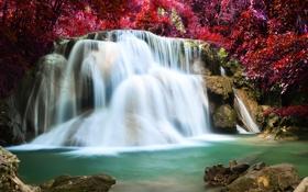 Картинка landscape, лес, река, осень, waterfall, водопад, forest