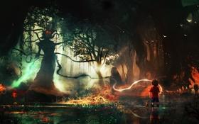 Обои лес, волшебство, мальчик, чудовище