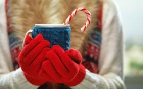 Обои зима, руки, кружка, winter, варежки, cup, какао