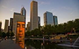 Обои небо, парк, здания, небоскребы, вечер, америка, чикаго