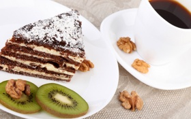 Обои кофе, киви, торт, пирожное, орехи, cake, десерт
