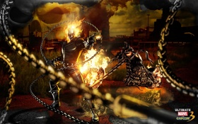 Обои пламя, игра, череп, мотоцикл, Ghost Rider, супергерой, Призрачный Гонщик